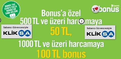 Kliksa.com'da Bonus'a Özel  100 TL'ye Varan Bonus Hediye!
