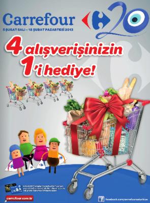 Carrefour'da 4 Alışverişten 1 tanesi Hediye! (05-18 Şubat 2013)