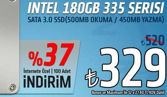 INTEL 180GB 335 SERISI SATA 3.0 SSD Vatan Bilgisayar'da 330 TL