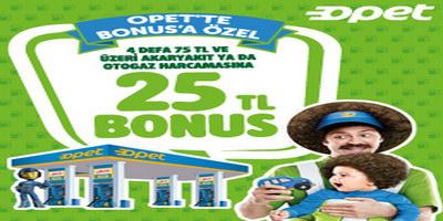 Opet ve Sunpet'lerde Bonus'a Özel 25 TL Bonus Hediye!