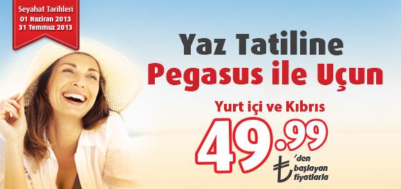 49.99 TL'den Başlayan Fiyatlarla Pegasus ile Yaz Tatilinize Uçun