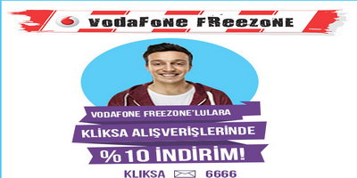 Vodafone Freezone'lulara Kliksa.com'da %10 indirim